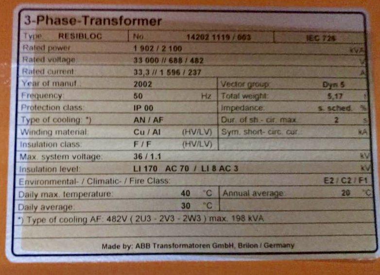 Trafo: 33 KV-2.100 KVA – 688-482V