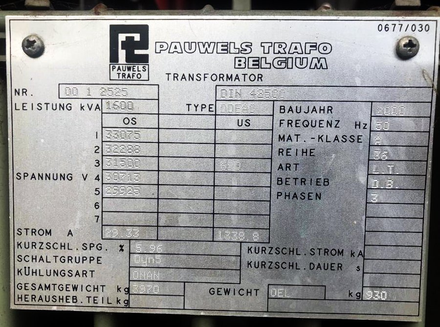 Trafo (Öl): 30 KV - 1600 KVA – 690V
