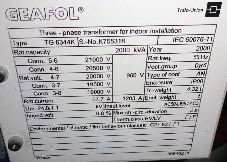 Trafo: 20 KV - 2000 KVA – 960 V