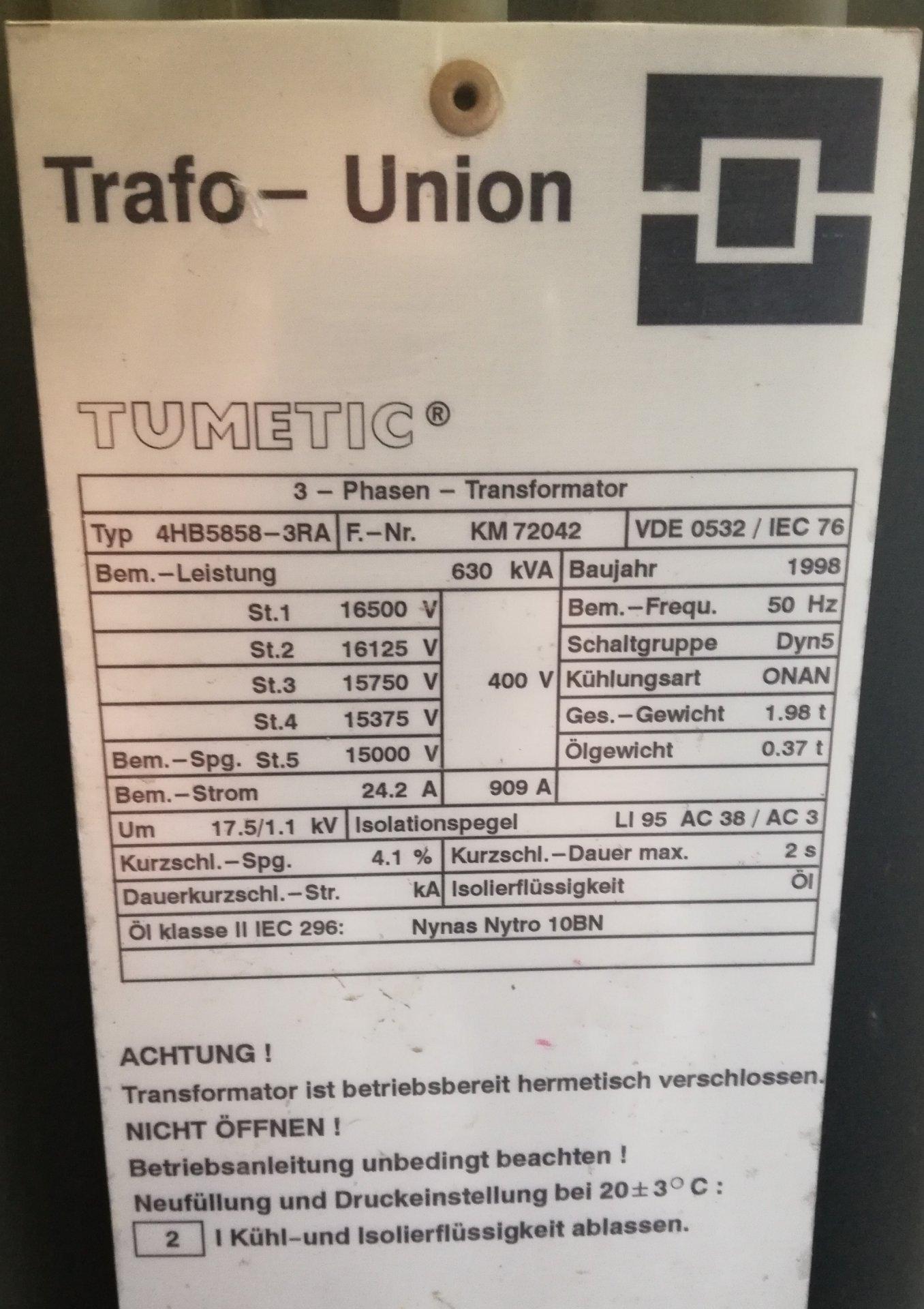 Trafo (Öl): 15 KV - 630 KVA - 400V