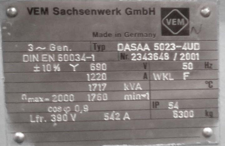 VEM TYP Generator: DASAA 5023-4UD Für: GE 1.5, Tacke, Emro, Fuhrl'nder